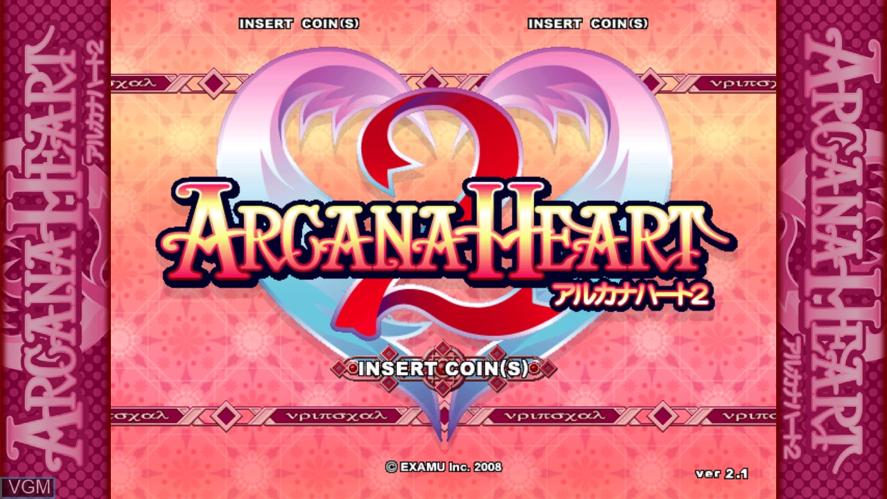 Title screen of the game Arcana Heart 2 on Taito Type X