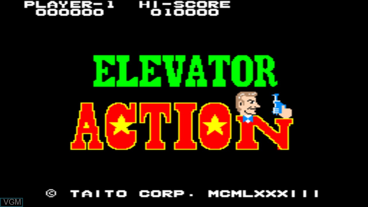 Title screen of the game Elevator Action on Taito Type X