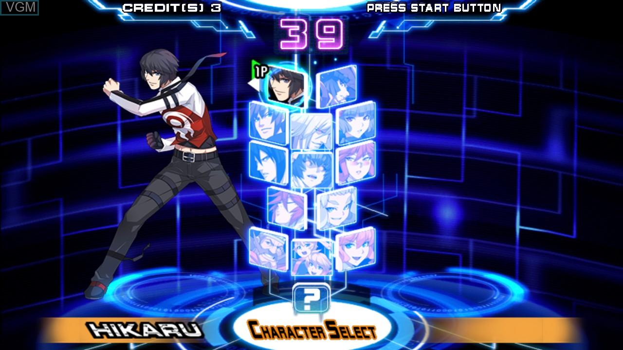 Menu screen of the game Chaos Code -  New Sign of Catastrophe on Taito Type X