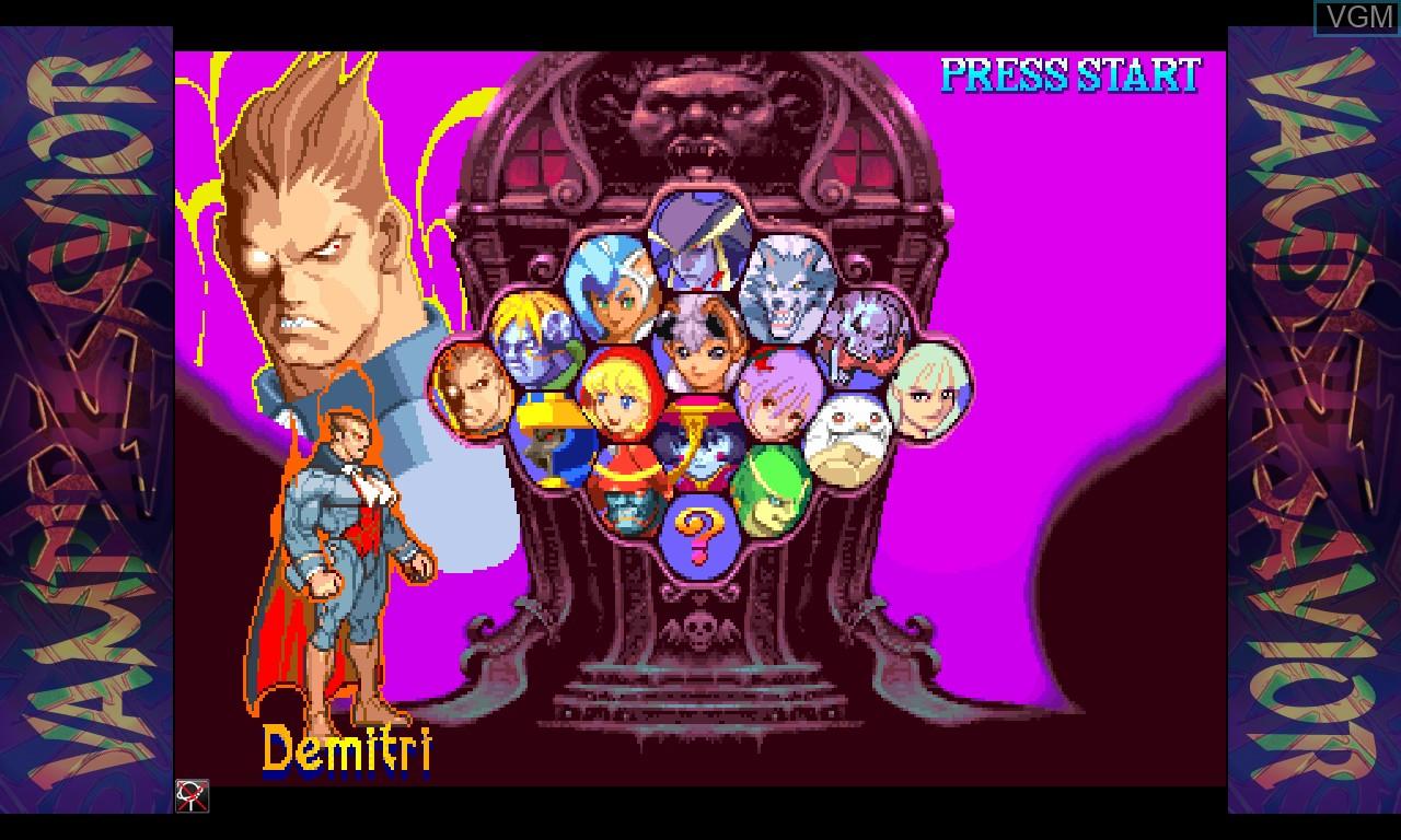 Menu screen of the game Vampire Savior - The Lord of Vampire on Taito Type X
