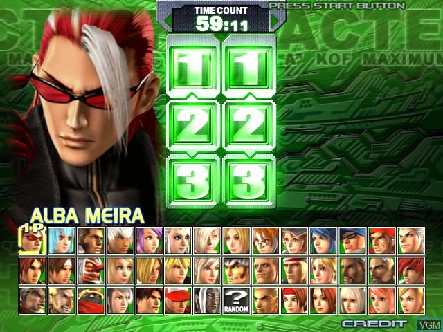 Menu screen of the game KOF - Maximum Impact Regulation A on Taito Type X