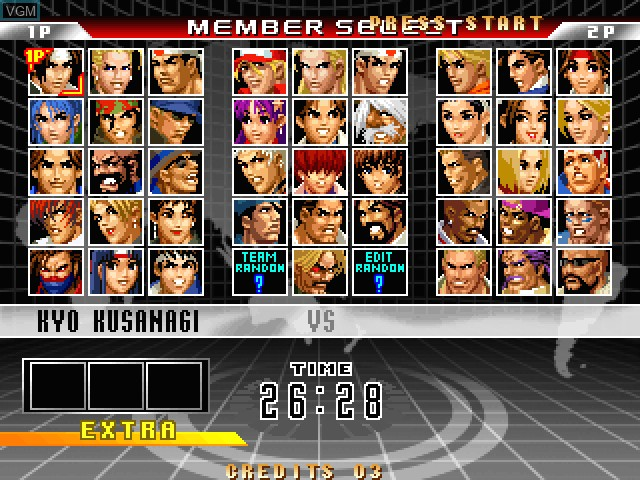 Menu screen of the game King of Fighters 98, The - Ultimate Match on Taito Type X