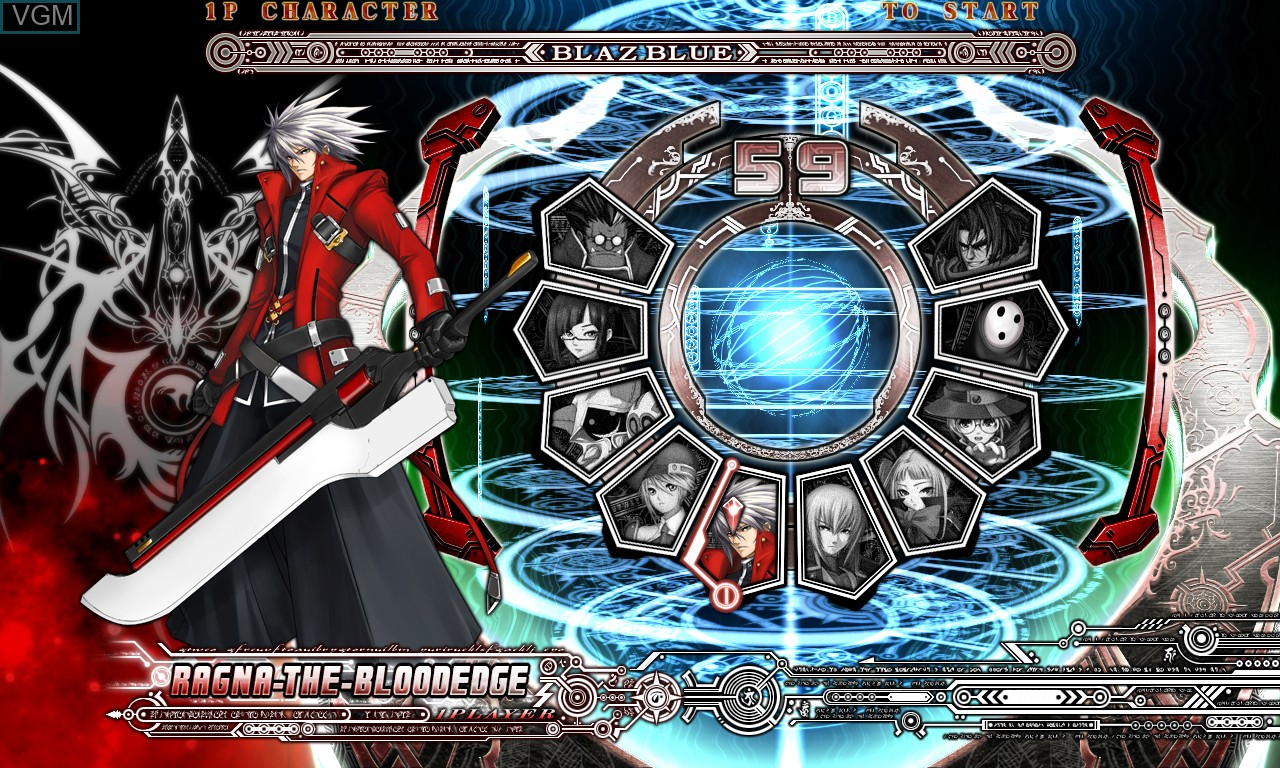 Menu screen of the game BlazBlue - Calamity Trigger on Taito Type X
