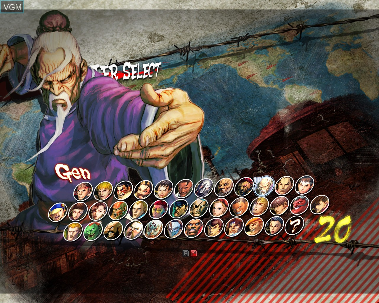Menu screen of the game Super Street Fighter IV Arcade Edition on Taito Type X