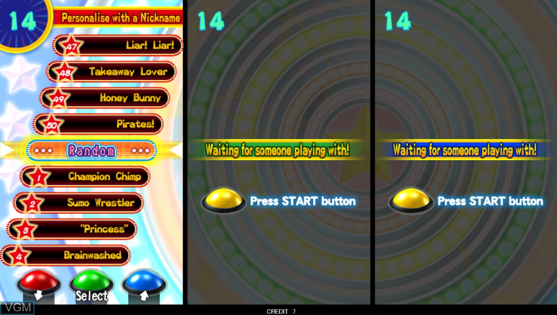 Menu screen of the game The Bishi Bashi on Taito Type X