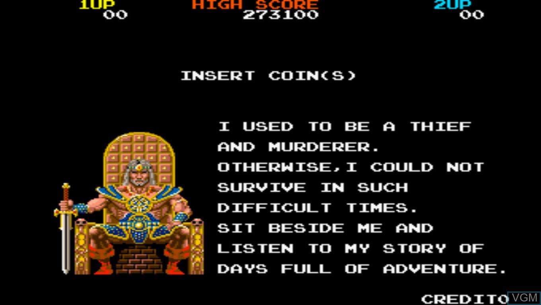 Menu screen of the game Rastan Saga on Taito Type X