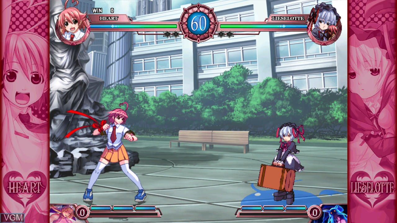 In-game screen of the game Arcana Heart 2 on Taito Type X