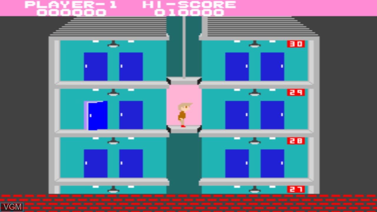 In-game screen of the game Elevator Action on Taito Type X