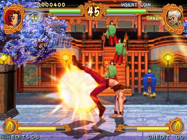 In-game screen of the game Gouketsuji Ichizoku Matsuri Senzo Kuyou on Taito Type X