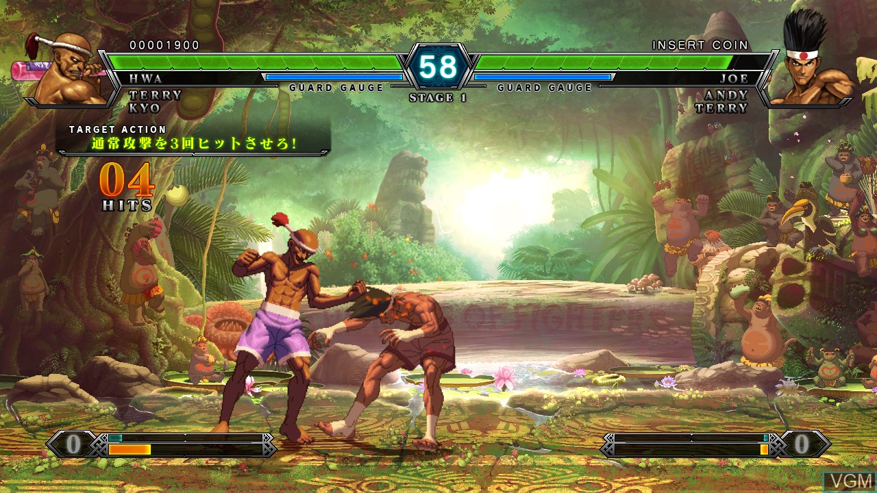 In-game screen of the game King of Fighters XIII, The on Taito Type X