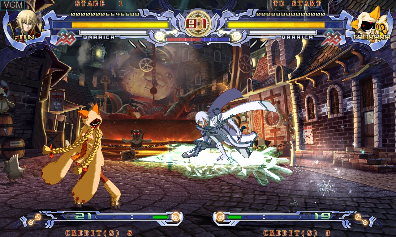 In-game screen of the game BlazBlue - Calamity Trigger on Taito Type X