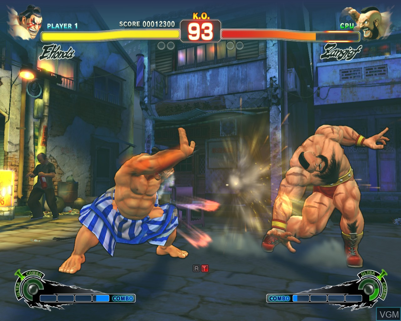 In-game screen of the game Super Street Fighter IV Arcade Edition on Taito Type X