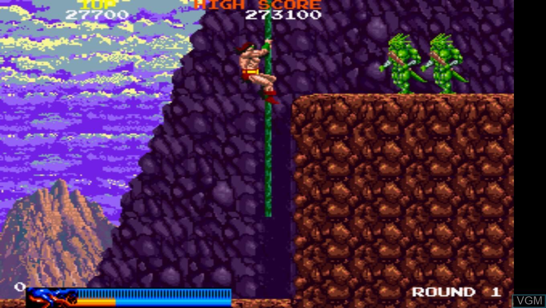 In-game screen of the game Rastan Saga on Taito Type X