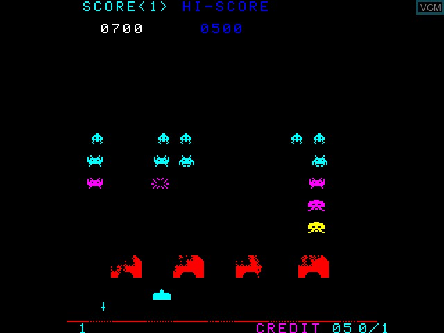 In-game screen of the game Space Invaders on Taito Type X