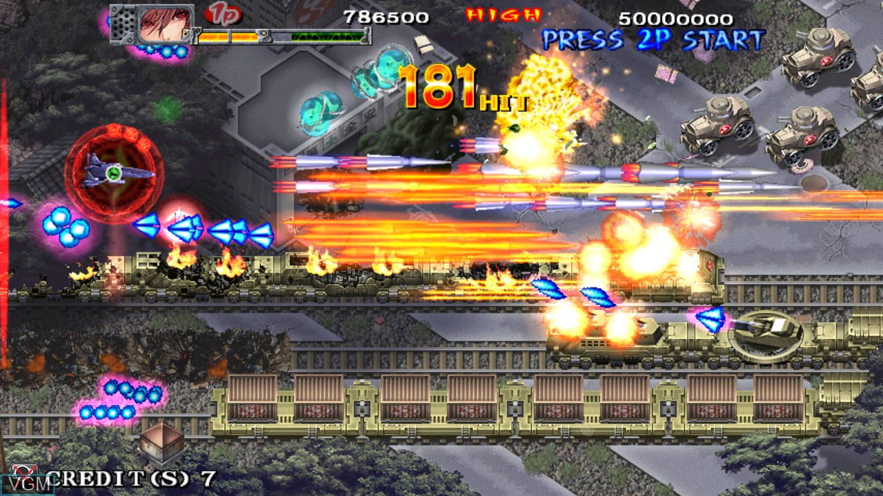 In-game screen of the game Akai Katana Shin on Taito Type X