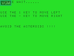 Title screen of the game Aster64 on Tandy MC10