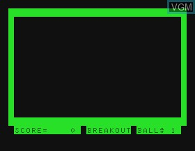Title screen of the game Breakout on Tandy MC10
