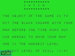 Title screen of the game Catch on Tandy MC10