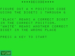 Title screen of the game Decode on Tandy MC10