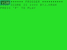 Title screen of the game Frogger on Tandy MC10