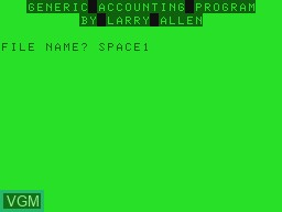 Title screen of the game Generic Accounting Program on Tandy MC10