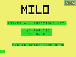 Title screen of the game Milo, Maths For Kids on Tandy MC10