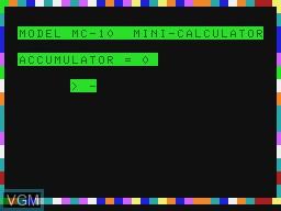 Title screen of the game Mini-Calculator on Tandy MC10