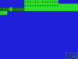 Title screen of the game Pontoon on Tandy MC10
