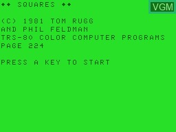 Title screen of the game Squares on Tandy MC10