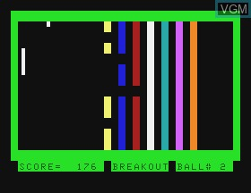 In-game screen of the game Breakout on Tandy MC10