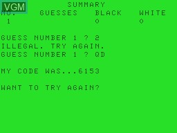 In-game screen of the game Decode on Tandy MC10