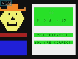 In-game screen of the game Milo, Maths For Kids on Tandy MC10