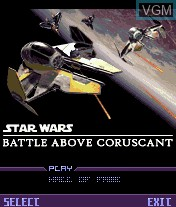Title screen of the game Star Wars - Battle Above Coruscant on Mobile phone