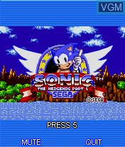 Title screen of the game Sonic the Hedgehog Part 1 on Mobile phone