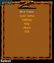 Menu screen of the game Legend of Zorro, The on Mobile phone