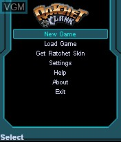 Menu screen of the game Ratchet & Clank - Going Mobile! on Mobile phone