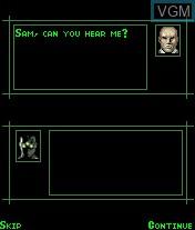 Menu screen of the game Splinter Cell - Pandora Tomorrow on Mobile phone