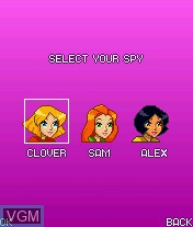 Menu screen of the game Totally Spies! - The Mobile Game on Mobile phone