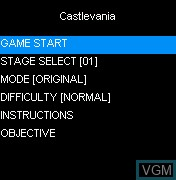 Menu screen of the game Castlevania on Mobile phone