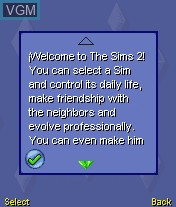 Menu screen of the game Sims 2, The on Mobile phone