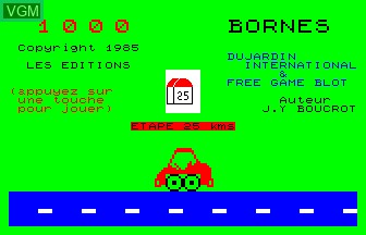 Title screen of the game 1000 Bornes on Thomson MO5