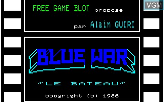 Title screen of the game Blue War on Thomson MO6