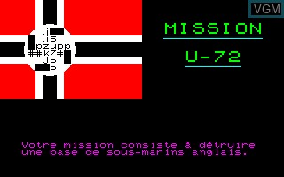Title screen of the game Mission U72 on Thomson MO6