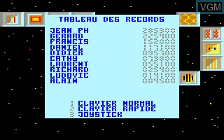 Menu screen of the game Blue Star on Thomson MO6