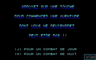 Menu screen of the game Blue War on Thomson MO6