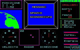 In-game screen of the game Orbital Mission on Thomson MO6