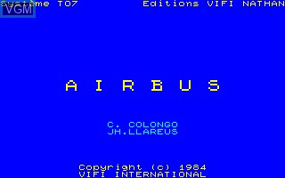 Title screen of the game Airbus on Thomson TO7