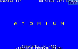 Title screen of the game Atomium on Thomson TO7