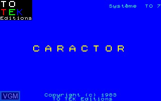Title screen of the game Caractor on Thomson TO7