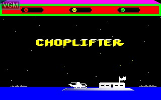 Title screen of the game Choplifter on Thomson TO7